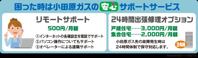 困った時は小田原ガスの安心サポートサービス リモートサポート 500円/月額 24時間出張修理オプション 戸建住宅…3,000円/月額 集合住宅…2,000円/月額
